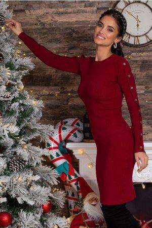 Rochie eleganta bordo din tricot reiat cu aplicatii
