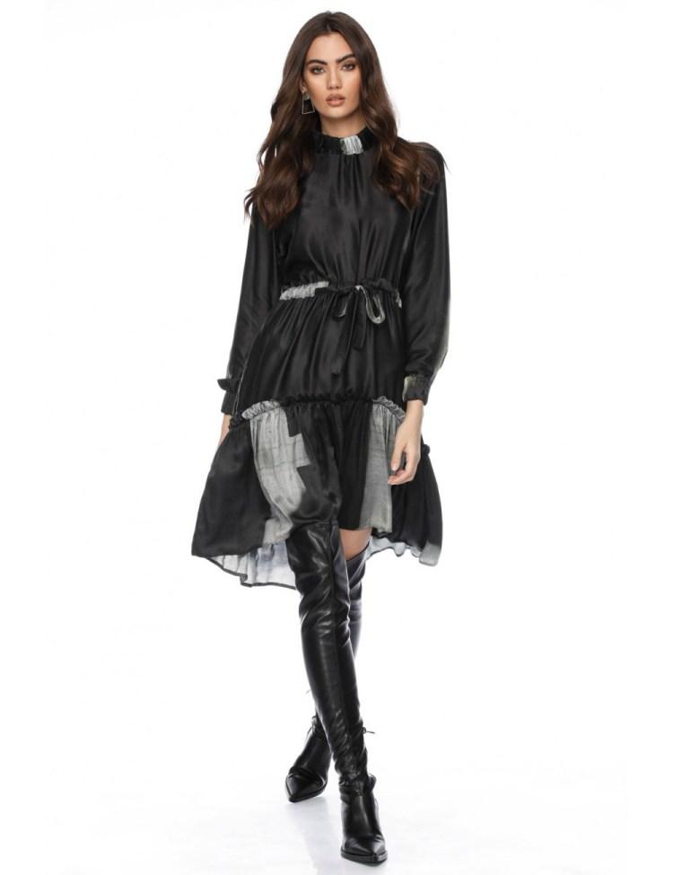 Rochie eleganta din matase cu imprimeu abstract Mela