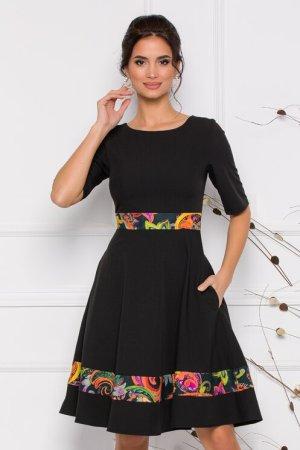 Rochie eleganta neagra cu maneci scurte si imprimeu floral