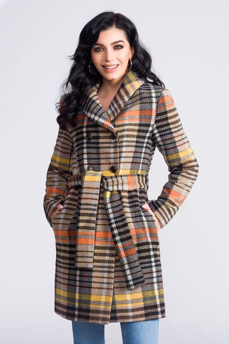 Palton Artista maro din lana office cu un croi drept accesorizat cu cordon cu dungi