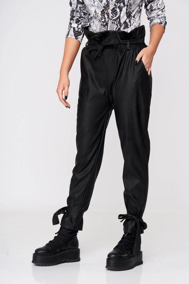 Pantaloni SunShine din piele ecologica negri casual conici cu elastic in talie