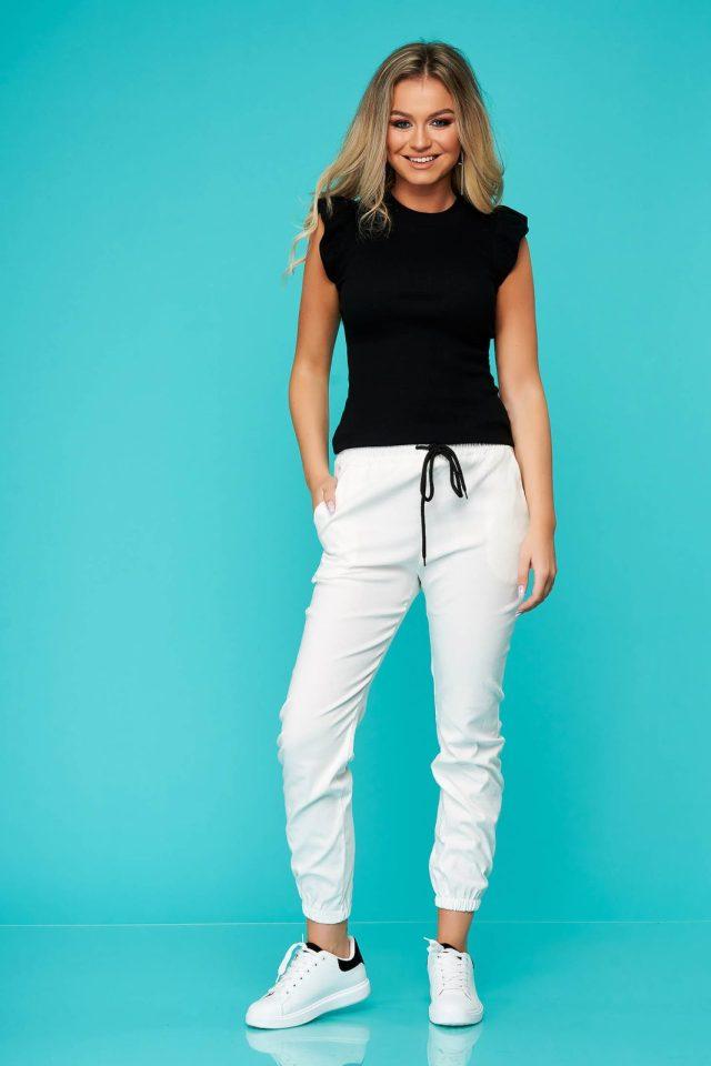 Pantaloni SunShine albi casual din material subtire