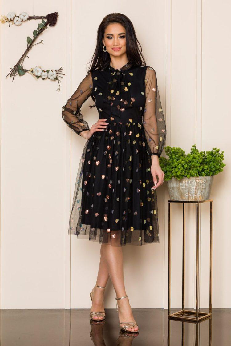 Rochie midi de ocazie din tull negru