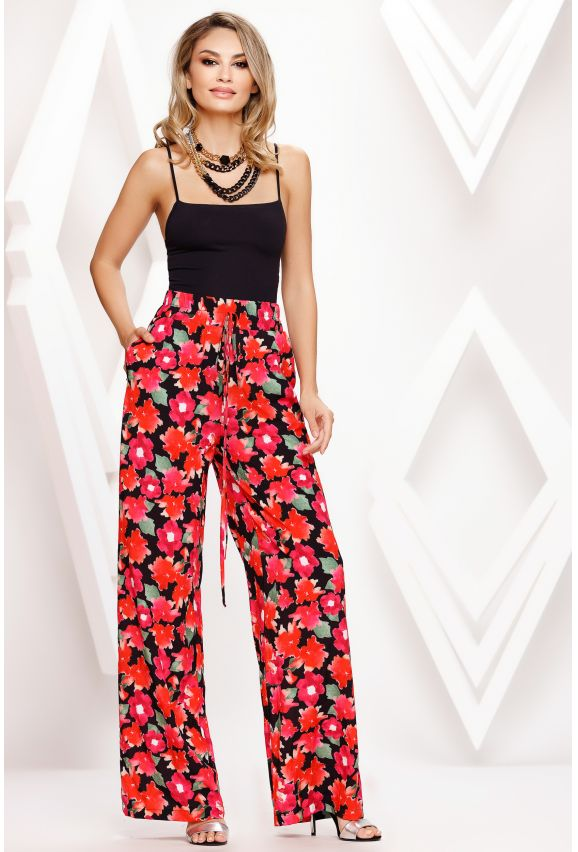 Pantaloni Kelly negri cu imprimeu floral rosu