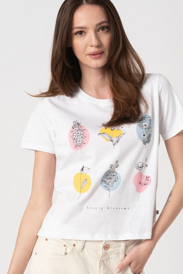 Tricou cu model floral Ziyaref