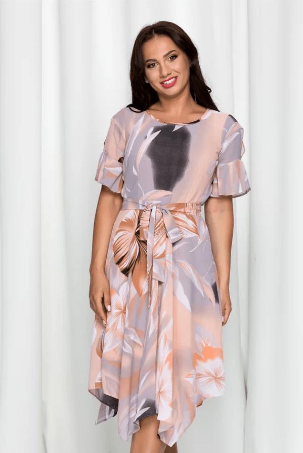 Rochie eleganta Cassie gri cu imprimeu floral maro