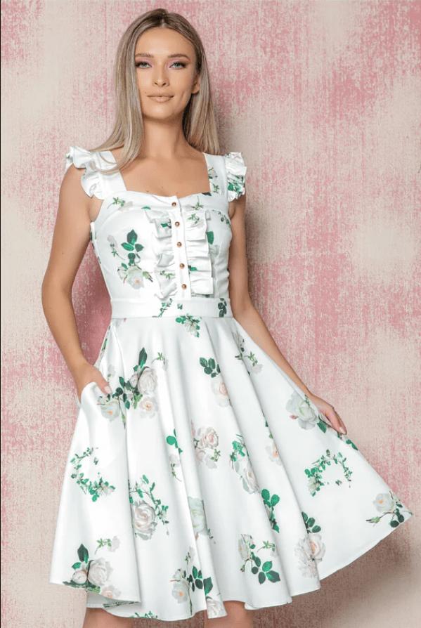Rochie eleganta MBG alba cu imprimeu floral verde si volanas la bust cu nasturi
