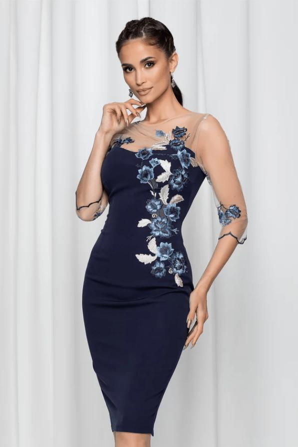 Rochie eleganta MBG bleumarin cu broderie florala si maneci trei sferturi din tull