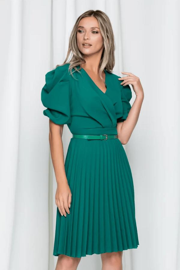 Rochie eleganta verde Karen cu pliuri pe fusta si maneci bufante