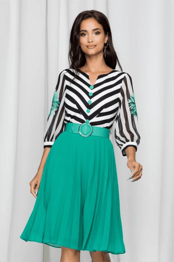 Rochie eleganta verde Kristina cu dungi si curea in talie