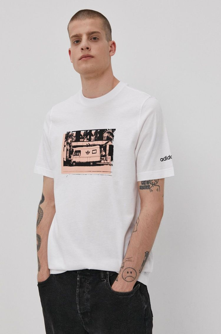 Tricou barbati alb adidas Originals cu imprimeu
