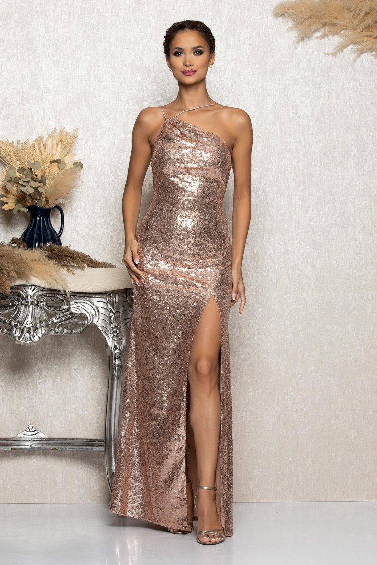 Rochie eleganta de ocazie lunga cu paiete aurie