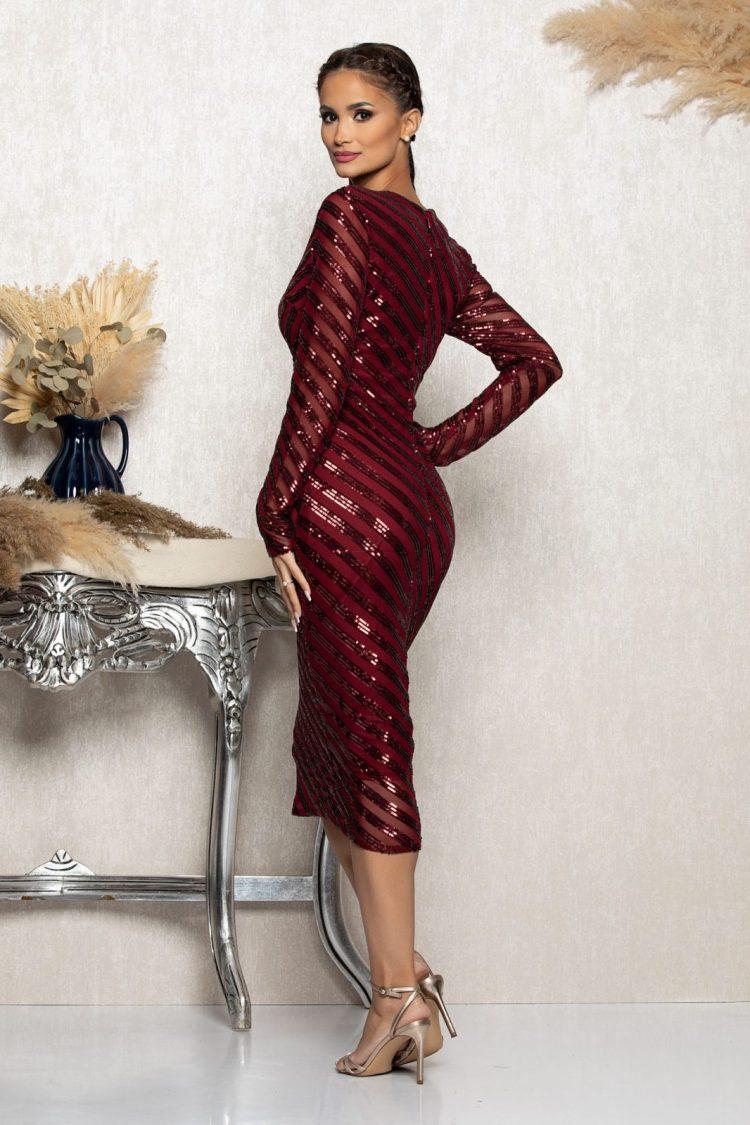 Rochie eleganta de ocazie midi cu paiete