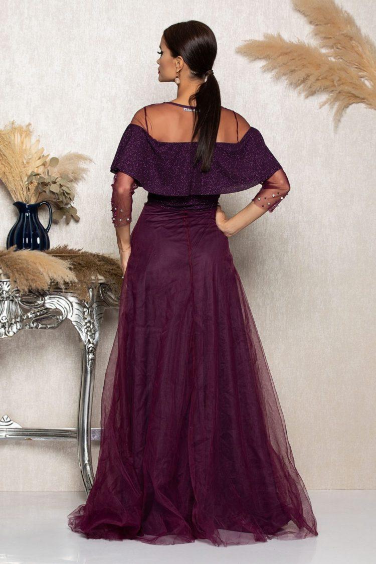 Rochie eleganta lunga mov cu broderie si strassuri in talie
