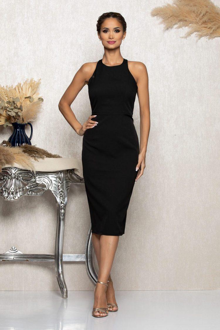 Rochie eleganta midi neagra cambrata cu funda la spate