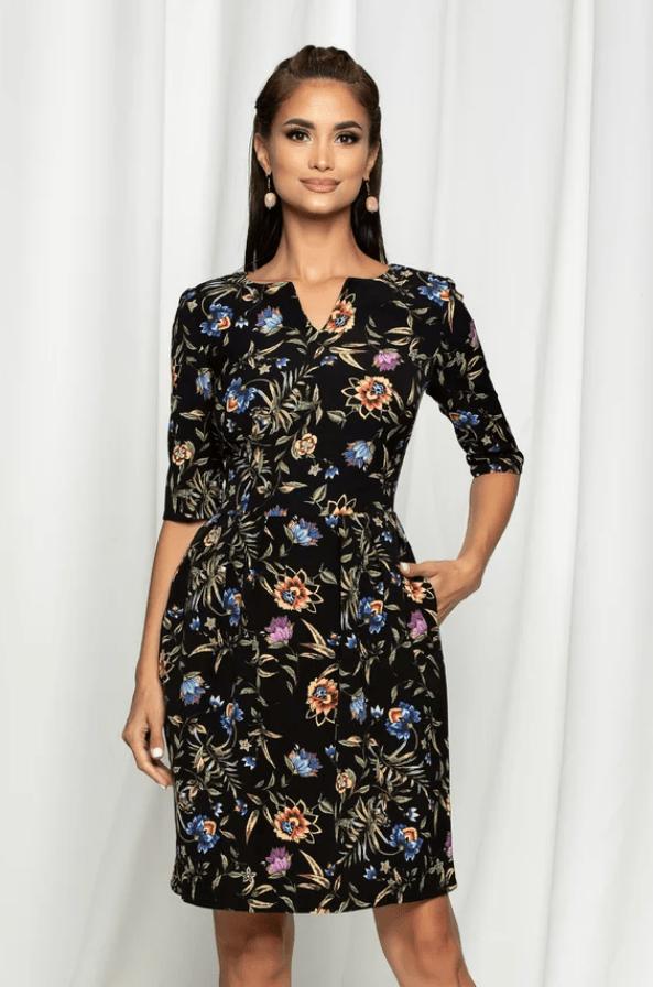 Rochie eleganta neagra cu imprimeu floral colorat