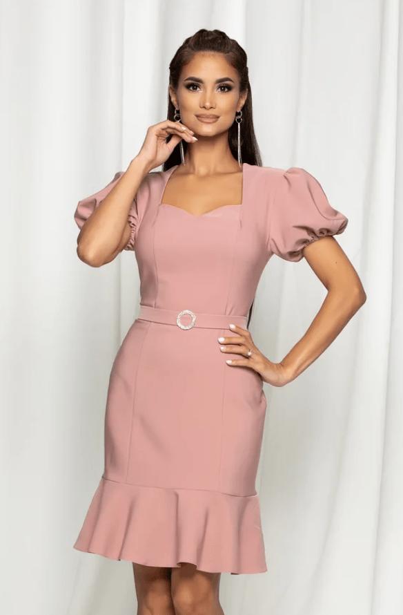 Rochie eleganta roz cu maneci bufante si curea in talie