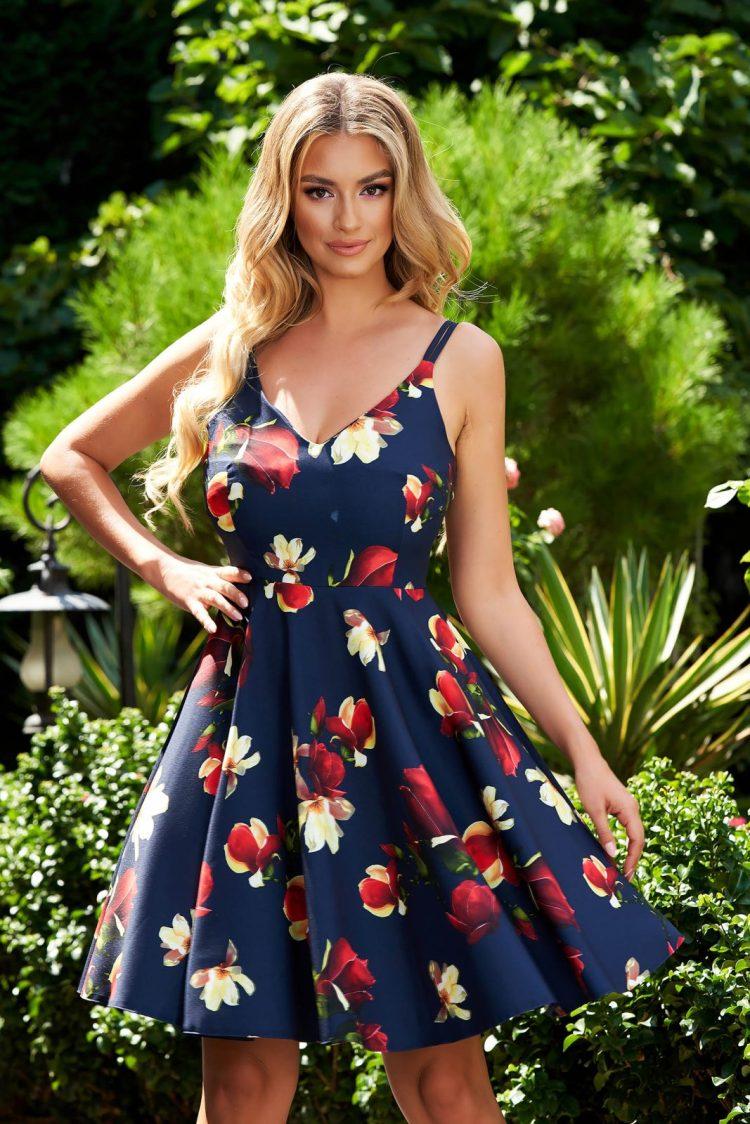 Rochie eleganta scurta in clos cu bretele si imprimeu floral