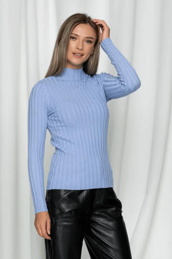 Bluza Cami bleu din tricot reiat