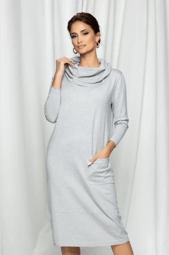 Rochie din tricot Rocsana gri cu guler si buzunar