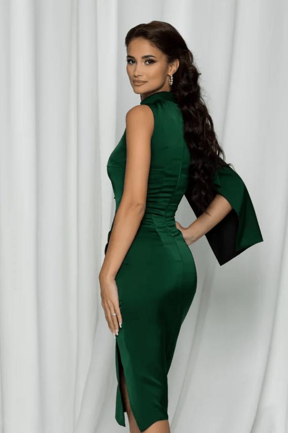 Rochie eleganta Moze verde cu o maneca
