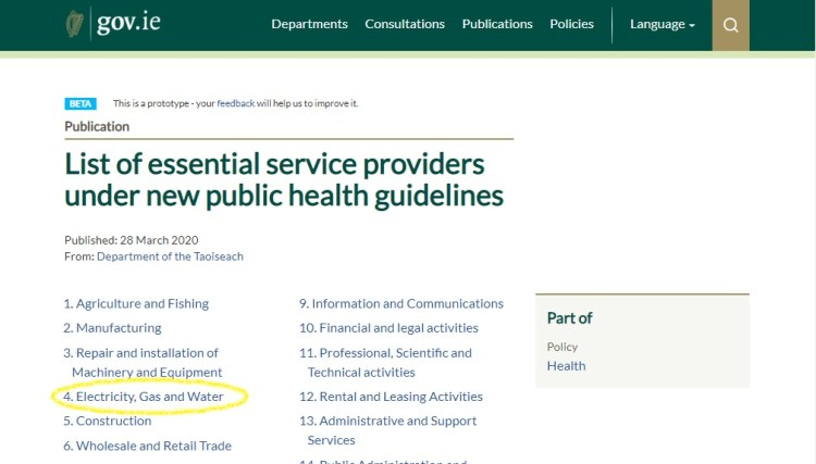 Click on the Image to view the full Government list of service providers under the new public health guidelines