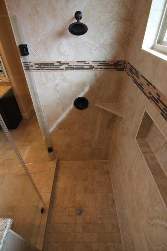 tiled shower - Master bathroom