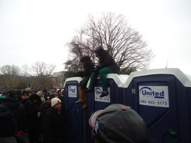 Many people went to great lengths in order to get the best view possible to see the President.
