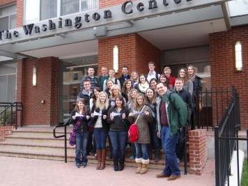 All 25 students on the steps of The Washington Center housing complex Saturday morning before embarking on an all-day get-to-know-the-city adventure.