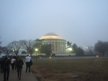 Approaching the Memorial in the fog