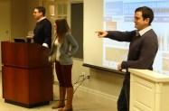 From left, Matt Vasilogambros, Sarah Hall and Mark Micheli coach the students through blogging and social media.