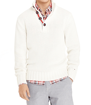 Tommy Hilfinger. Sweater - $128. Shirt - $68.