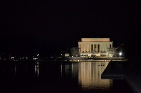 Our first view of the Lincoln Memorial at night. Photo by Grace Dunn