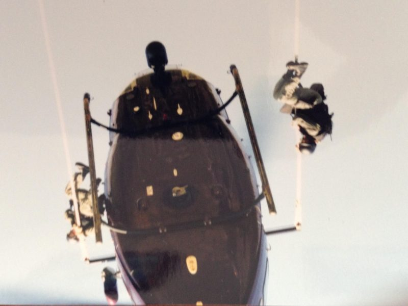 Jeff Harp Force Pro Instructor Former Human Rescue Instructor exiting helicopter