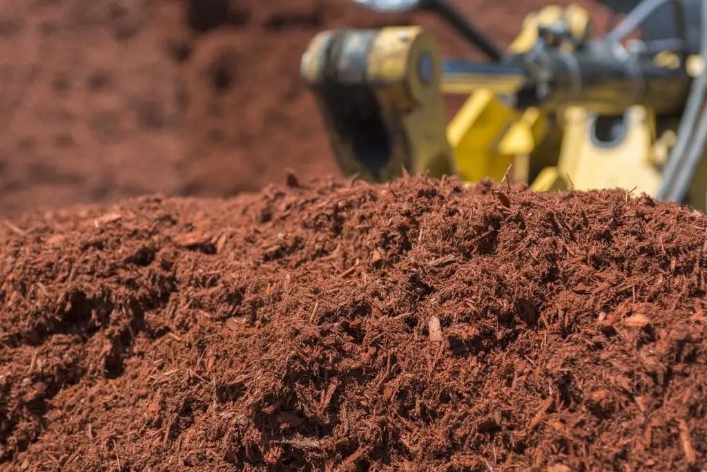 Mulch in bulk pile