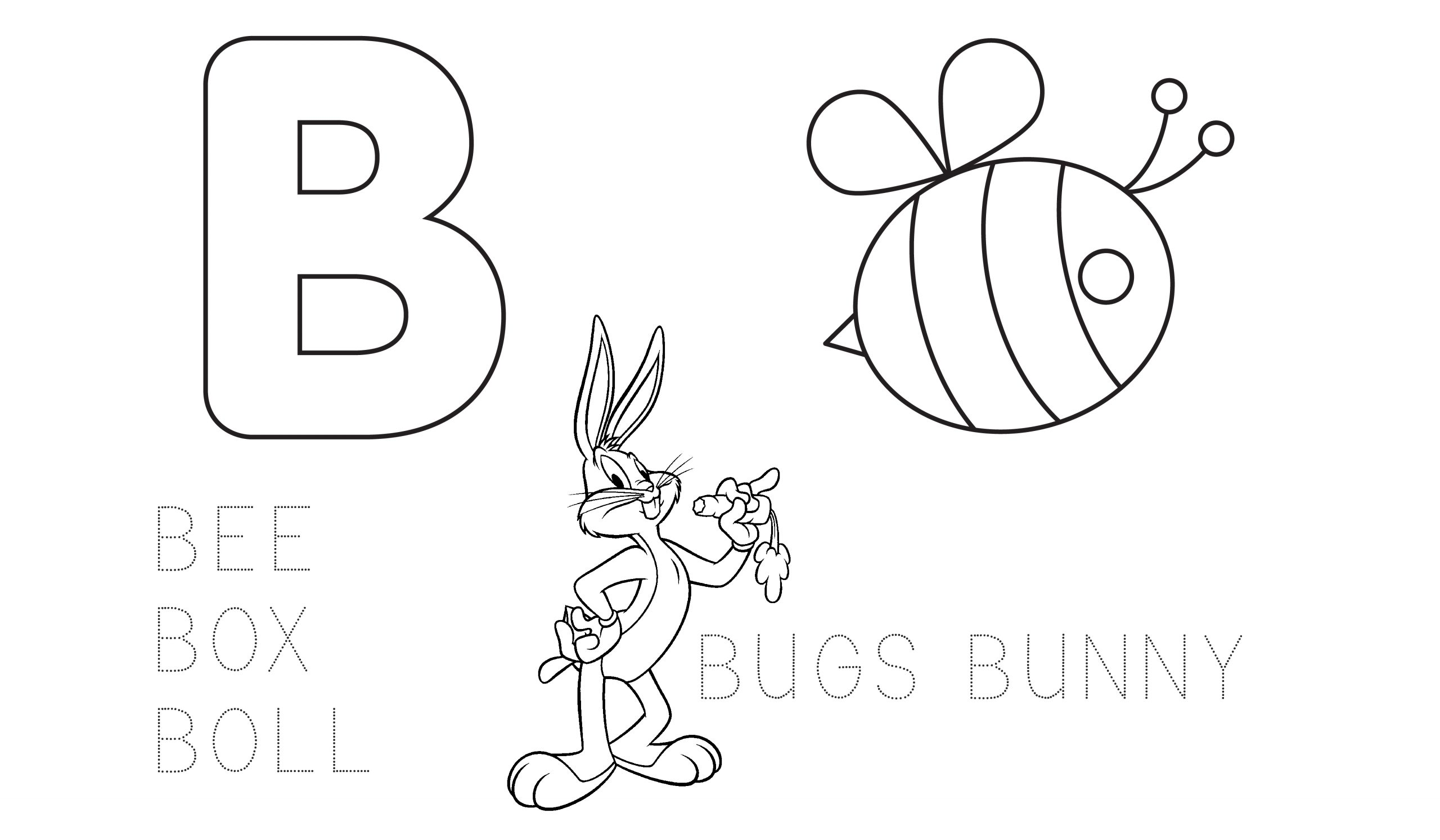 Learn The Alphabet Coloring Page Letter B Educational