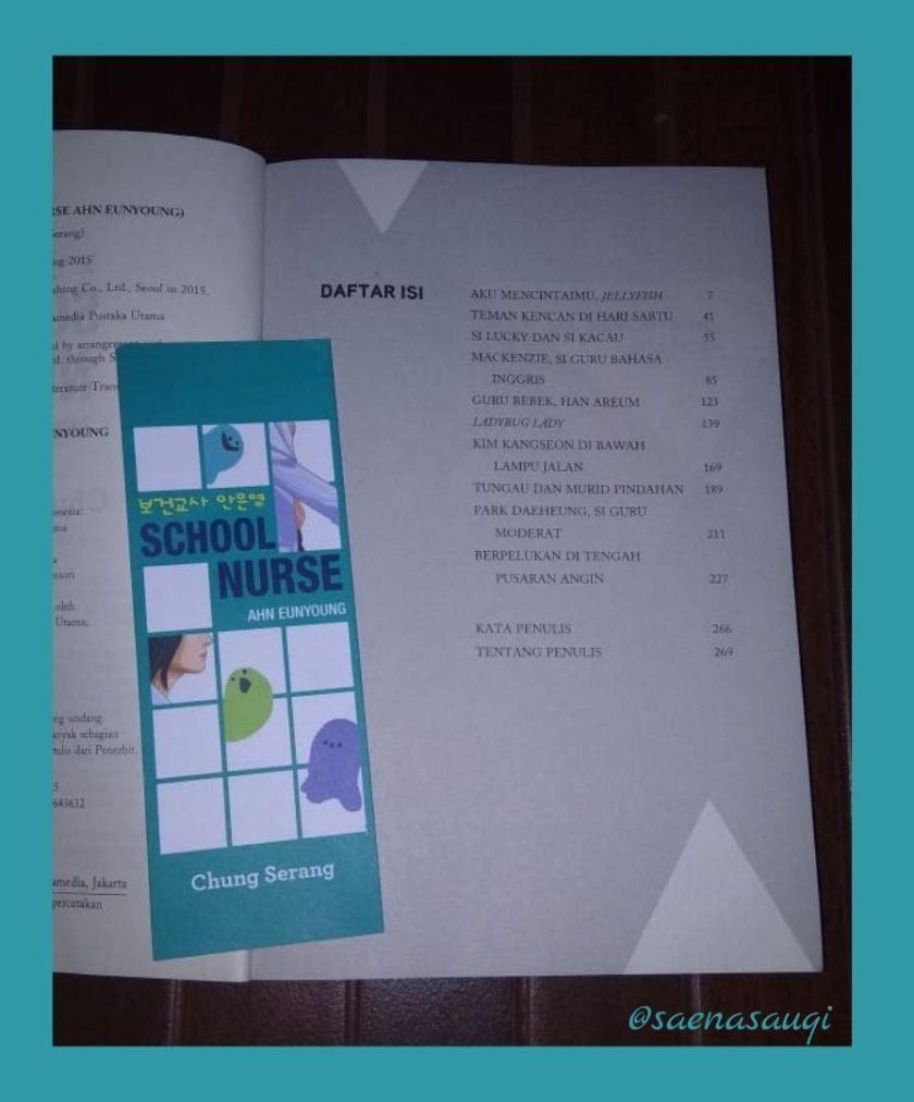 Daftar isi buku School Nurse Ahn Eunyoung (Sumber gambar: Dokumentasi Pribadi)