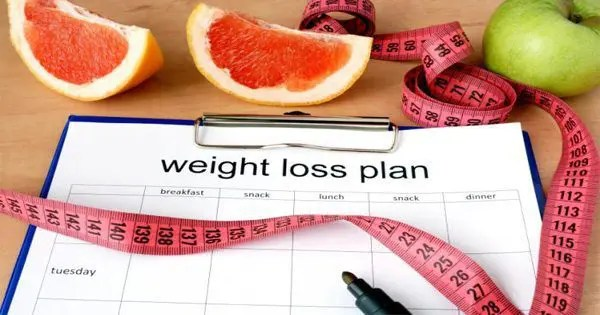 blog picture of weight loss plan with fruits and measuring tape