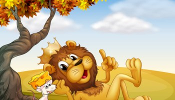A king lion and a mouse under the tree