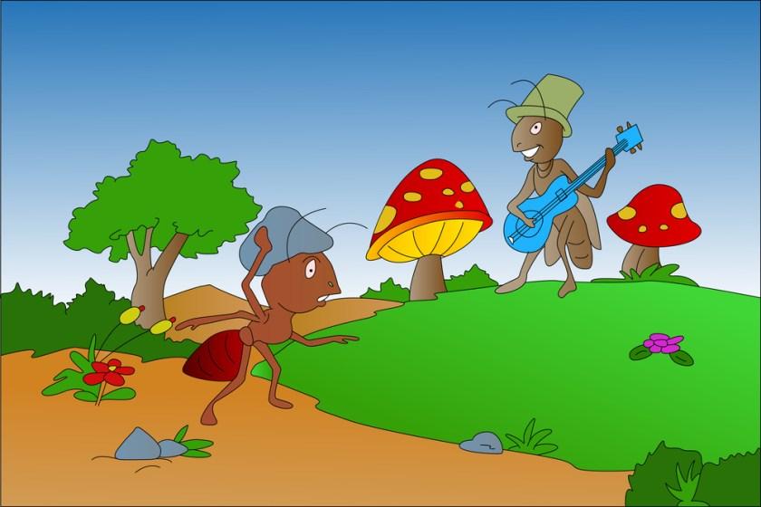 Ant and Grasshopper, illustration