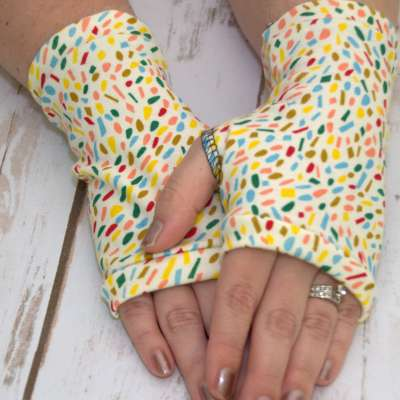 Organic Fingerless Gloves - Confetti