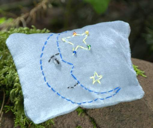 embroidered dream pillow moon