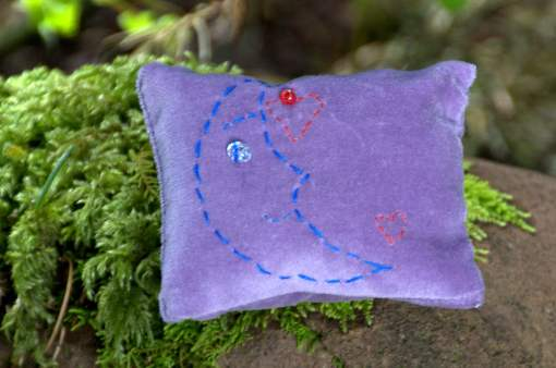 embroidered dream pillow stars and moon