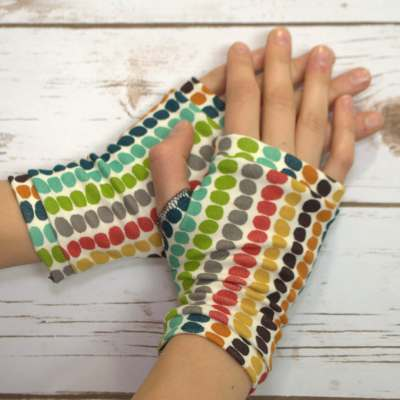 organic jersey fingerless gloves polka dots