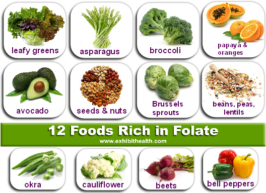 Is folate in foods safe in MTHFR mutants? In these foods YES - even for MTHFR C677T mutants. Thanks to exhibithealth.com for the great image.