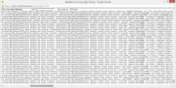 Live Log - Web Filter logs