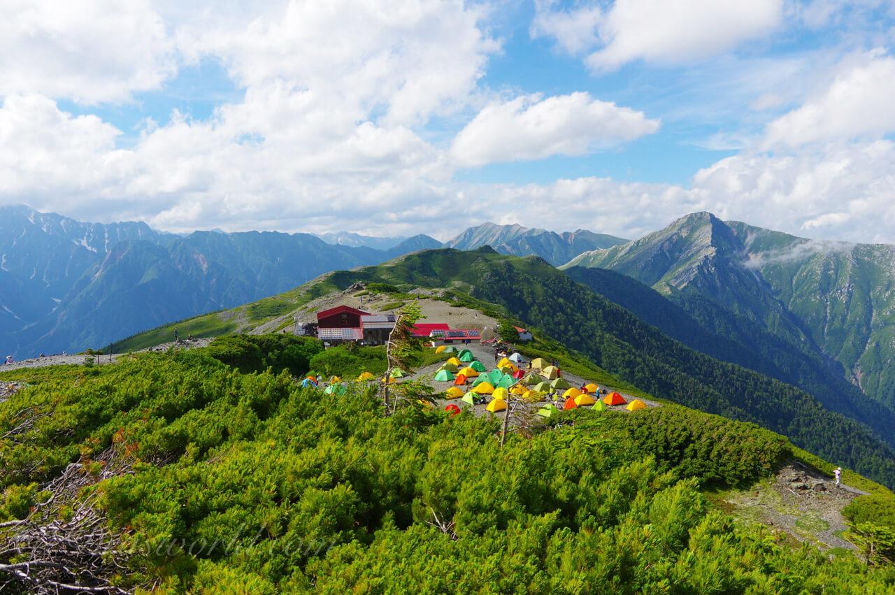 蝶ヶ岳のテントサイト