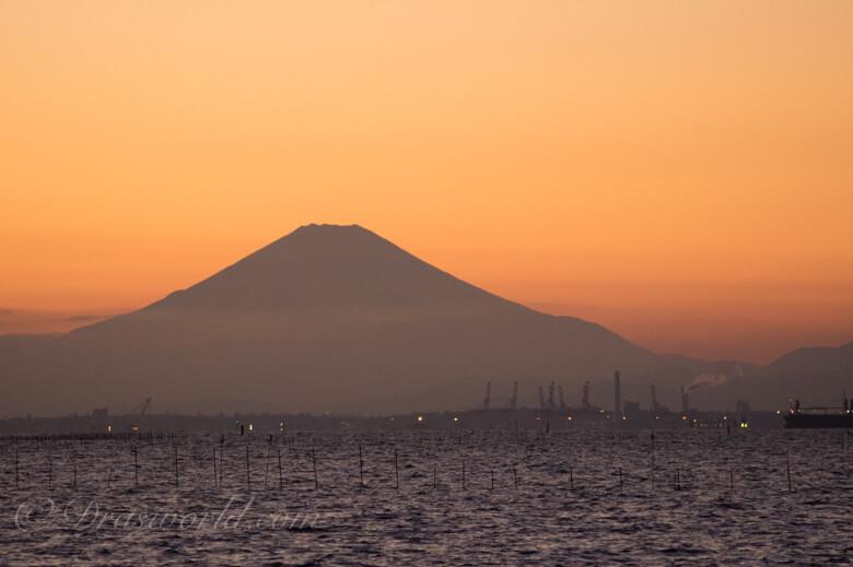 海から見る富士山の夕焼け