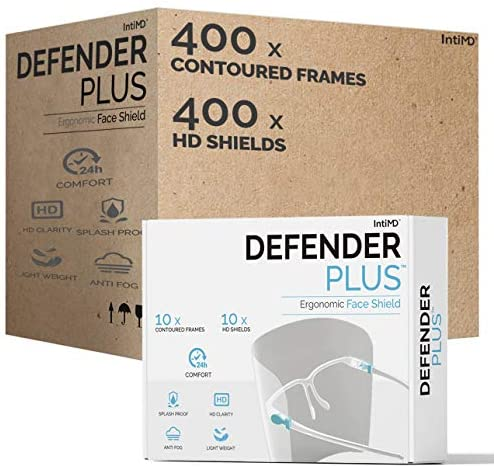 Security Full Face Defend DEFENDER PLUS (400 Frames and 400 Shields) Ergonomic Body Goggle Eye Glasses Appropriate Anti Fog Free All-Day Consolation Splash Droplet Bodily Fluid Defend