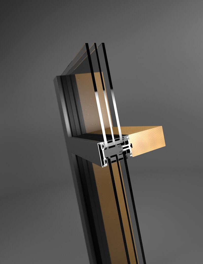 wood aluminium curtain wall tm50 se